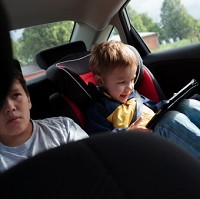 Tablets keeping in-car children quiet