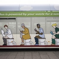 All aboard the new poo-powered eco-bus