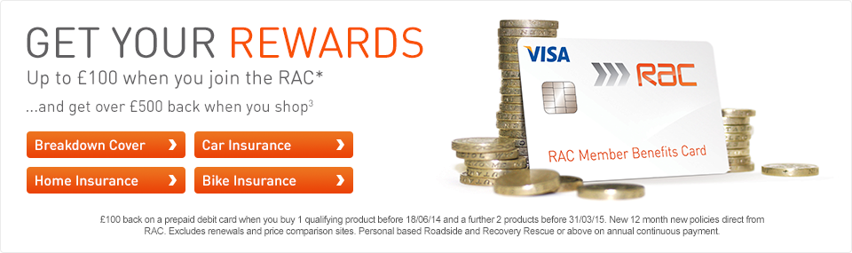 Up to £100 cashback when you join the RAC*.