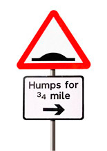 Sign post advising humps in road