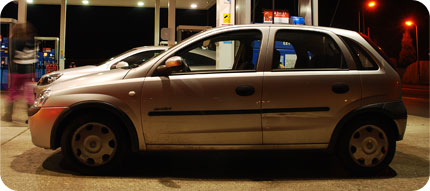 car in petrol station